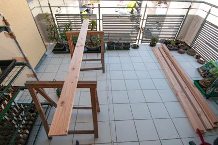 Vorbereitung zum Bau für ein Bonsairegal