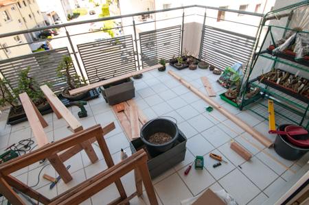 Baustelle auf dem Balkon