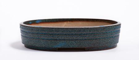 ovale grün-blaue Bonsaischale