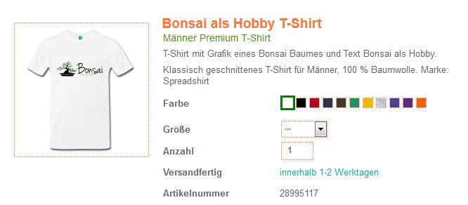 Bonsai Logo auf einem T-Shirt