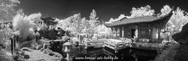 Chinesischer Garten in Stuttgart in Schwarzweiß Infrarot