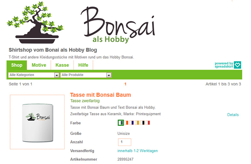 Bonsai als Hobby auf einer Kaffeetasse